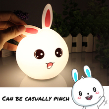 USB Silicone Night Light Touch Sensor Remote Control LED Cartoon Lamp For Children Baby Kids Bedside Gift Bedroom Living Room