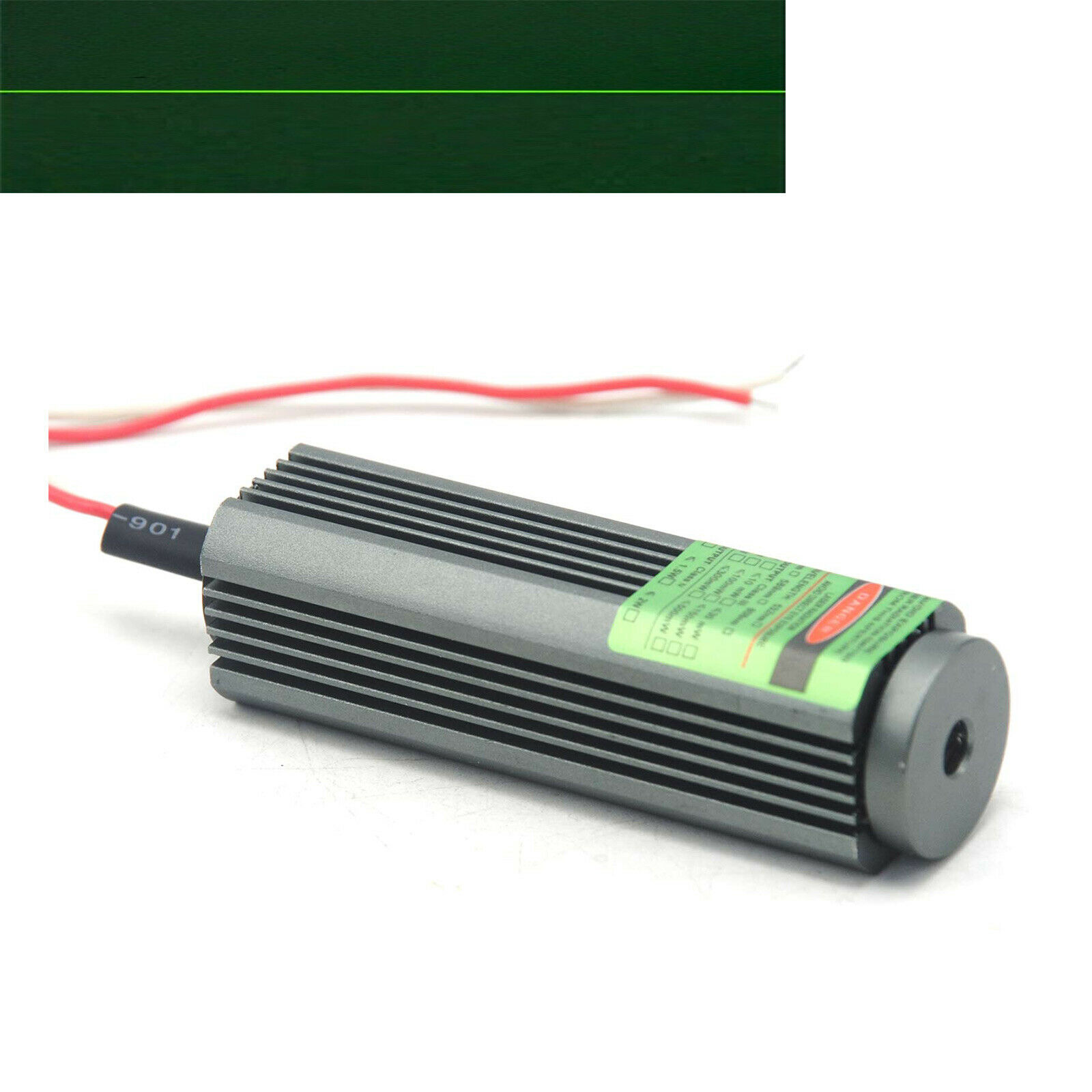 <font><b>532nm</b></font> <font><b>50mW</b></font> Line 25x75mm Green <font><b>Laser</b></font> Diode Module Locator w/Glass Lens & Driver image