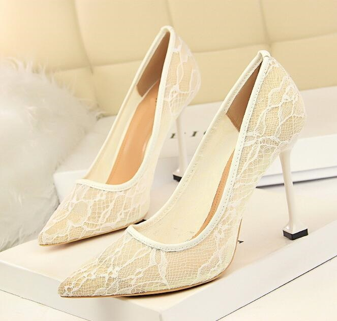 Ladies Shoes Pumps Lace-Material Party-Dress Slip-On Pointed-Toe High-Heel Sexy Woman