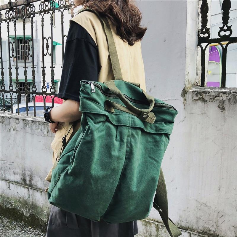 Mochila Retro de lona para mujer, morral escolar de moda Coreana de gran capacidad, de viaje, verde, novedad de 2020