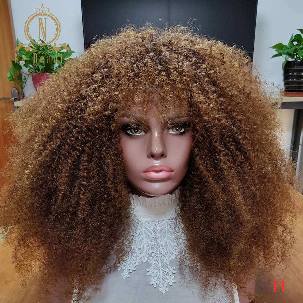 Honey Blonde Afro Kinky Curly Wig With Bangs 13x6 Lace Front Human Hair Wigs Color Human Hair Wigs For Black Women Nabeauty 150