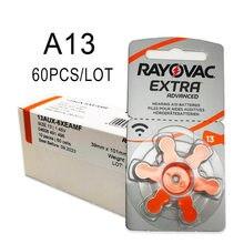Bateria a13 da prótese auditiva a13 13a 13 p13 pr48 para aparelhos auditivos 60 baterias extra do aparelho auditivo do zinco de rayovac dos pces