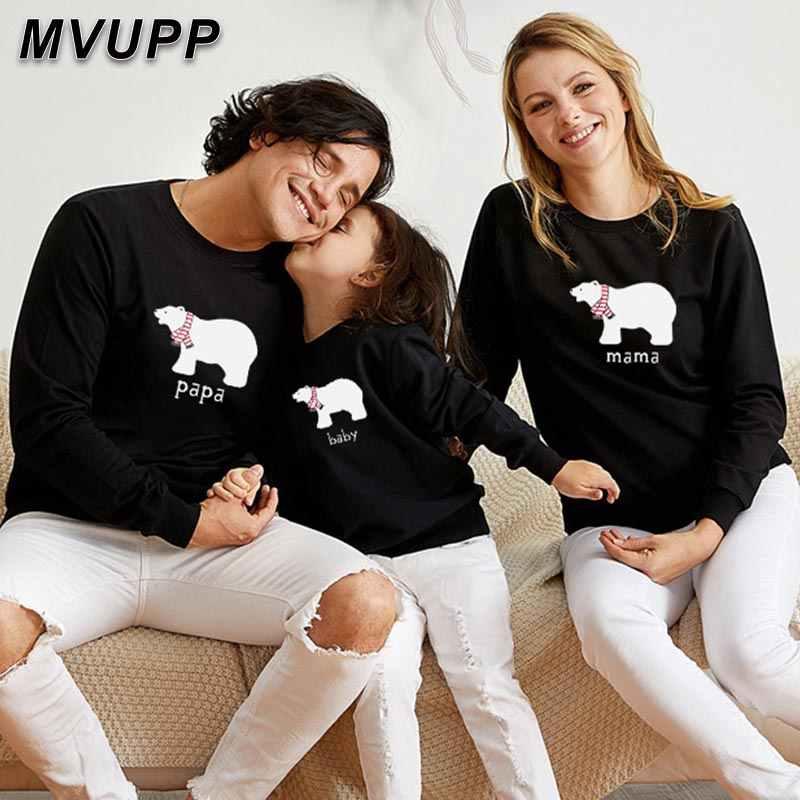 MVUPP คริสต์มาสแม่ลูกสาวลูกชายพ่อครอบครัวดูเสื้อผ้า daddy mommy และ me ชุดหมี papa mama เด็กตลกเสื้อกันหนาว