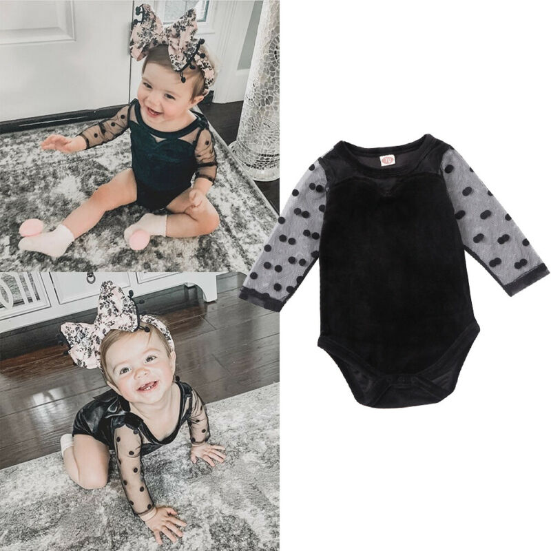 Lovely Kids Baby Girls Lace Long Sleeve Romper Velvet Bodysuit One Piece Jumpsuit Playsuit Clothes Set 0-18M