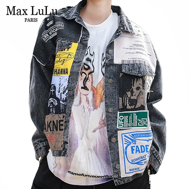 Max LuLu 2020 Spring Korean Fashion Designer Ladies Ptachwork Coat Womens Casual Denim Trousers Oversized Loose Vintage Clothes