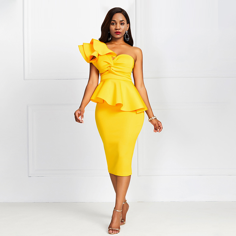 Yellow One Shoulder Elegant Cocktail Dress Sleeveless Ruffles Zipper Up Mermaid Knee Length Party Formal Women Cocktail Dresses