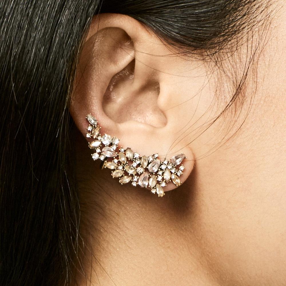 Vintage Rhinestone Crystal Flower climber Earrings For Women Bohemia Elegant Long Stud Earrings statement Jewelry Ear Crawlers