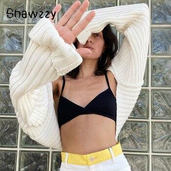 Otoño Invierno Zaraing mujeres Sexy Y2K suéter corto 2020 de las señoras de moda de manga completa mujer Chic Streetwear Vintage Corea 1