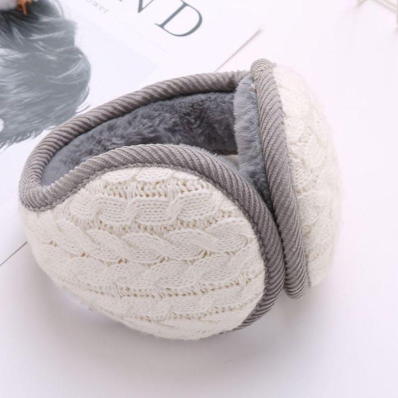 Women Men Wavy Stripes Knitted Winter Foldable Earmuffs Thicken Plush Ear Warmer