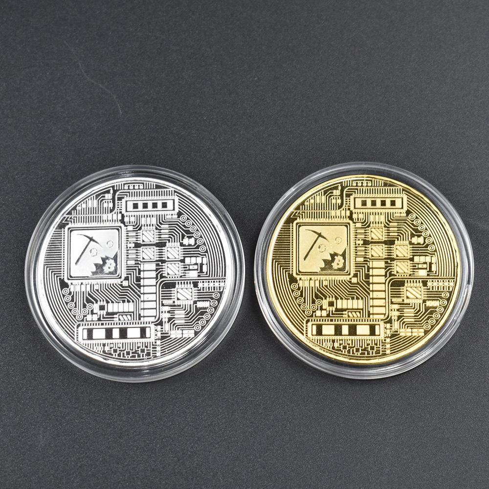 1PC Gold Plated  Bitcoin Coin BTC Bit Physical Metal Collectible Coin for gift with plastic case-2