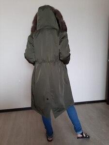 Image 4 - Oftbuy防水リアルファーコートのxロングパーカー冬のジャケットの女性天然フォックス毛皮の襟フード厚く暖かい上着取り外し可能な新