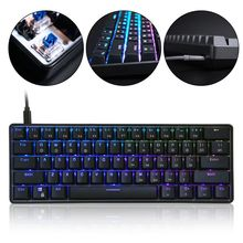 RGB LED Backlit Wired Mechanical Keyboard,Portable Compact Waterproof Mini Gaming Keyboard 61 Keys Gateron Switches for PC Mac цена