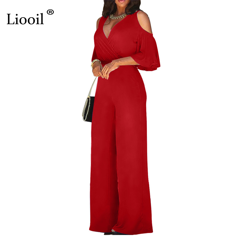 Liooil Cold Shoulder Sexy Loose Jumpsuits For Women 2019 V Neck High Waist Party Club Rompers Womens Jumpsuit Wide Leg Long Pant