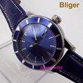 Bliger 46 мм механические синие стальные часы с циферблатом даты сапфир кожаный ремешок автоматические часы для мужчин