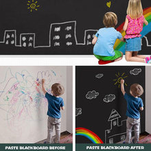 200*60CM Chalkboard Self-Adhesive Blackboard Wall Sticker Waterproof Removable Reusable Black Board Poster with 5 Color Chalk(China)