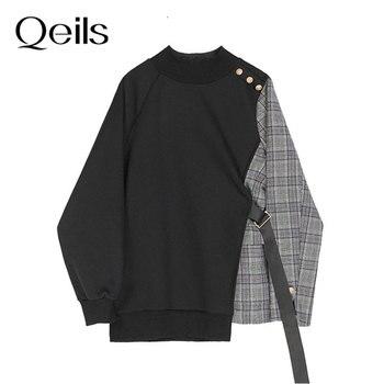 Qeils Fashion Spring Autumn 2021 Vintege Loose Black Plaid Ribbon Irregular Sweatshirt New Round Neck Long Sleeve Women Big Size 1