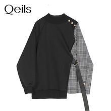 Qeils moda primavera outono 2021 vintege solto preto xadrez fita irregular moletom novo em torno do pescoço longo manga feminina tamanho grande