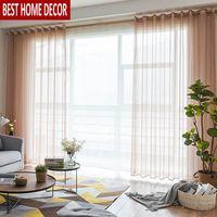 BHD Solide Tüll Sheer Fenster Vorhänge für wohnzimmer das Schlafzimmer Moderne Tüll Organza Vorhänge Stoff Jalousien Vorhänge für Küche-in Vorhänge aus Heim und Garten bei