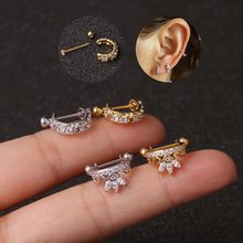 1 pc Fashion Chic Stainless Steel Small Rhinestone Wave Stud Earrings Stud Women Girl Ear Bone Jewelry(China)