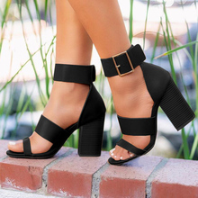 2020 Summer New Thick High-heel Ankle Buckle Sandals Women C