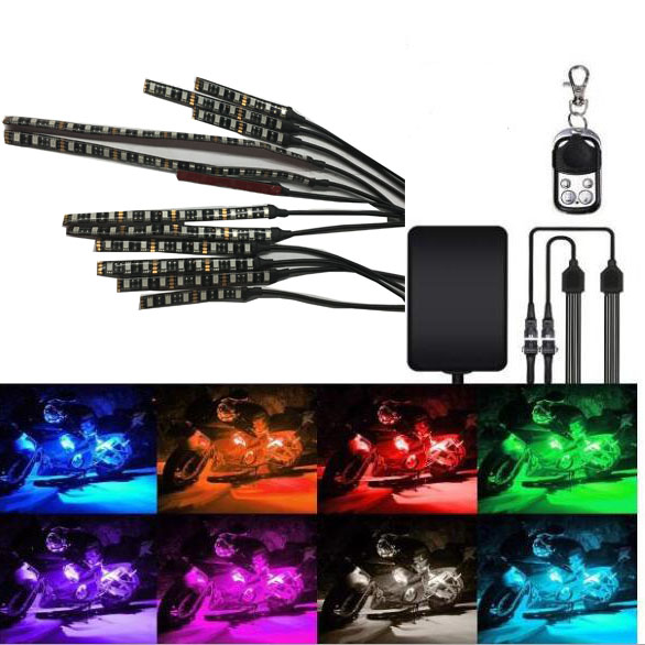 12Pcs Motorcycle LED Light Strip Kit RGB Multi-Color Accent Glow Neon Ground Effect Atmosphere Light with Remote Control image