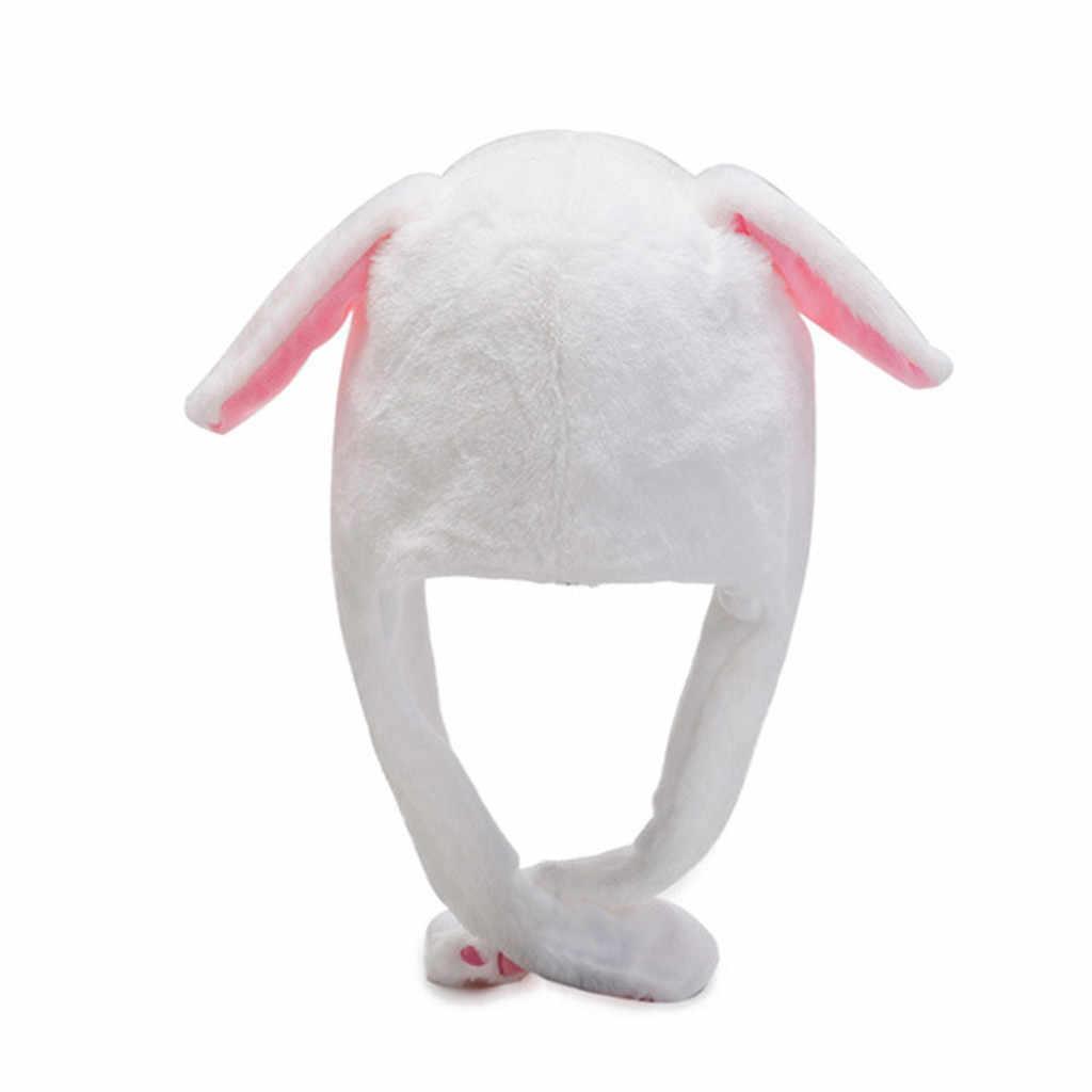Karikatür sevimli hareketli kulak tavşan şapka dans peluş oyuncak peluş kap şapka yumuşak doldurulmuş hayvan oyuncak oyuncak kız arkadaşı için шапки женские
