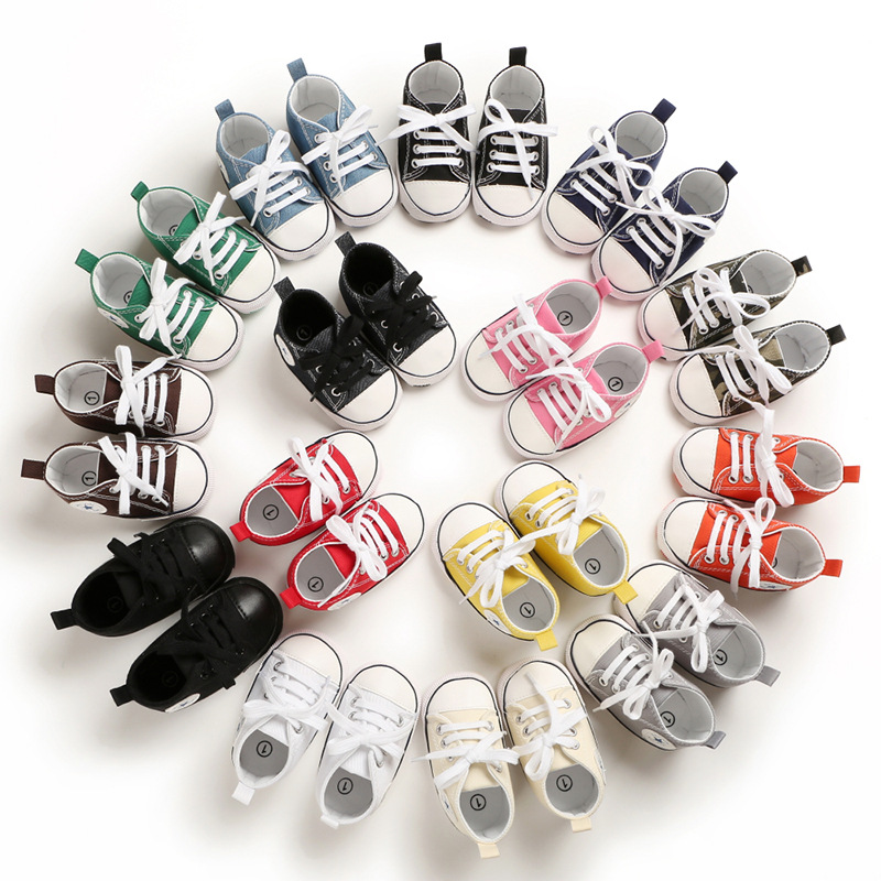 Canvas Baby Sports Sneakers Shoes Newborn Baby Boys Girls First Walkers Shoes Infant Toddler Soft Bottom Anti-slip Baby Shoes