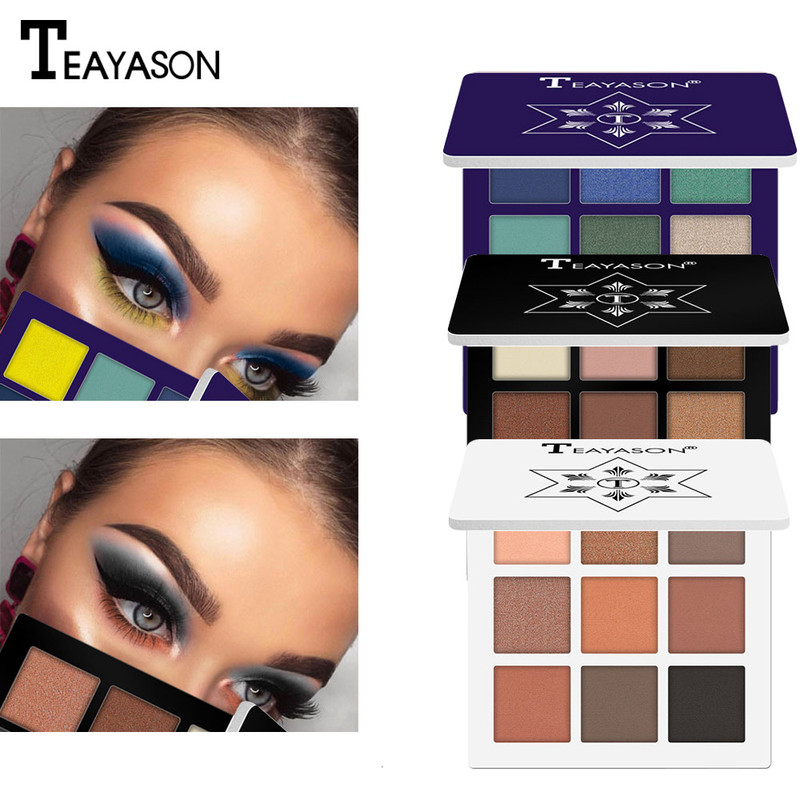 Beauty Makeup Eyeshadow Pallete makeup brushes 9 Color Shimmer Pigmented Eye Shadow Palette Make up Palette maquillage TSLM2