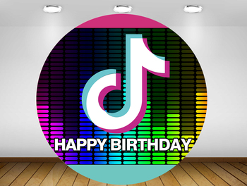 Round Backdrop circle background happy birthday Tok Tik photo booth props Party banner table Cover plinth YY-382