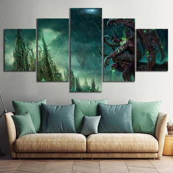 Canvas Painting 5 Pieces Illidan Stormrage DOTA 2 Wall Picture Art Prints Modular Game Poster For Living Room Home Decoration image