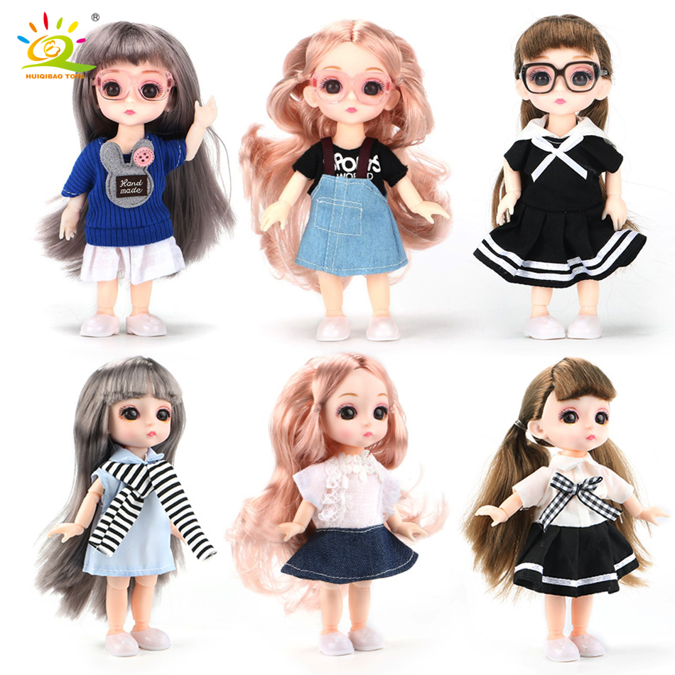 HUIQIBAO 15cm 1/12 BJD 13 Moveable Jointed Doll Baby Doll Naked Nude Body with Clothes Fashion Dolls Toys For Children Kids Girl