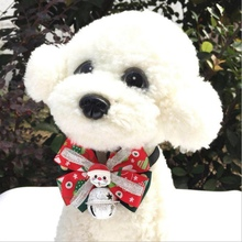 Pet Cloth Necktie For Dogs And Cats Christmas Festival Handmade Bowknot With Large Bell Pet