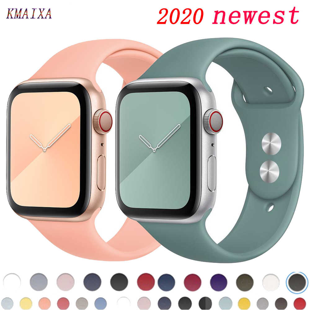 Pasek na pasek do apple watch 44 mm 40mm silikonowy bransoletka pulseira pasek do zegarka correa apple watch 42mm 38mm iwatch seria 5 4 3 2 44