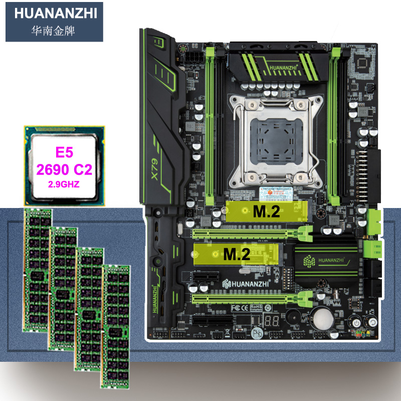 Brand new motherboard with dual M.2 SSD slot HUANANZHI X79 Pro motherboard with CPU <font><b>Xeon</b></font> E5 <font><b>2690</b></font> C2 2.9GHz RAM 16G(4*4G) REG ECC image
