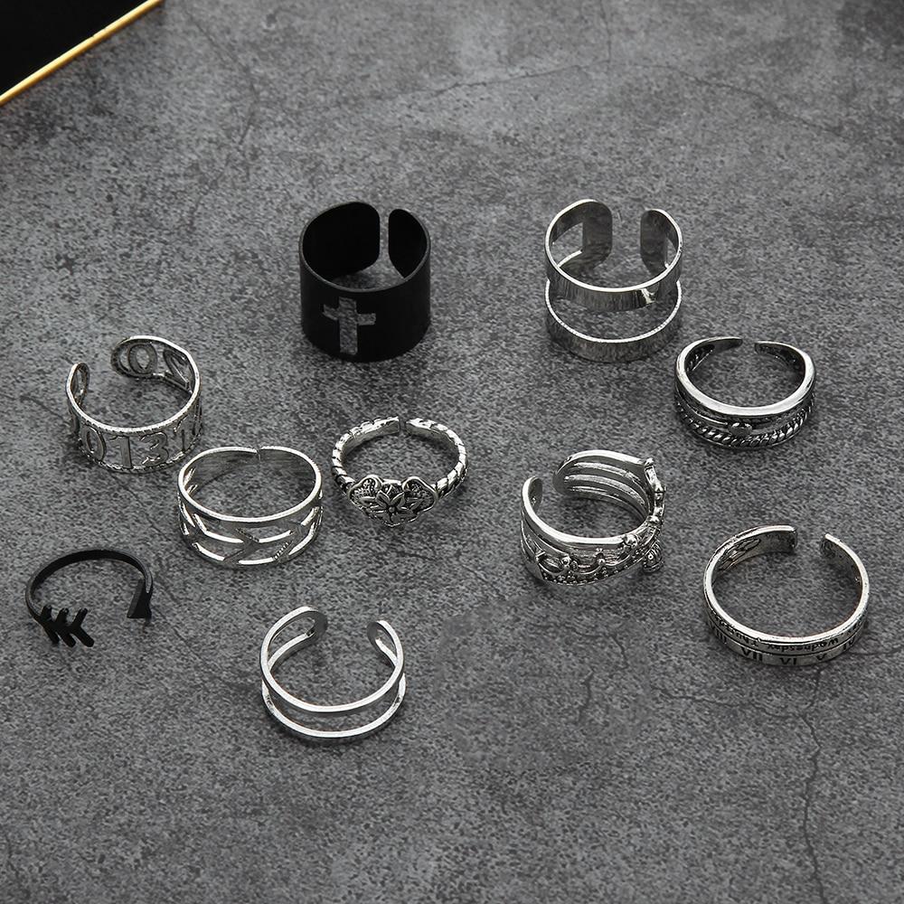 Крест кольца серебряный Цвет металлический открытые панковские регулируемая конструкция фасона «рыбий хвост» преувеличенный кольцо на па...