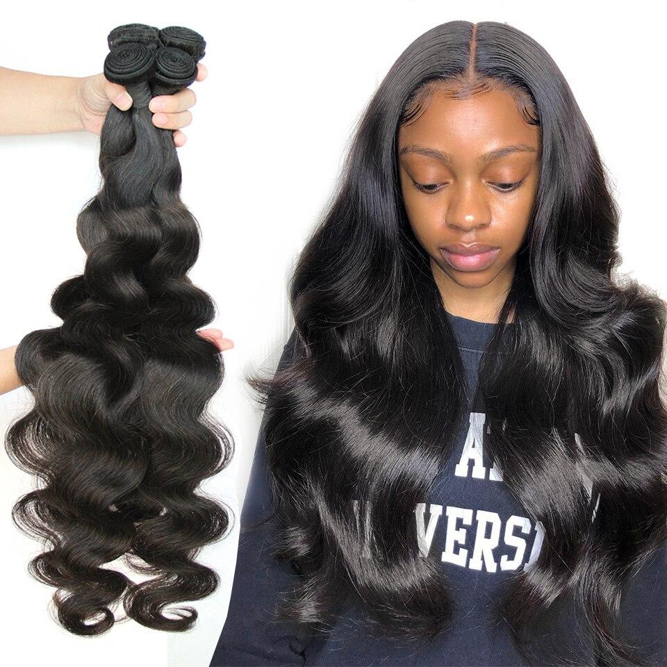 30 32 34 36 38 40 pouces corps vague paquets cheveux brésiliens armure paquets 1/3/4 pièces hoho 100% cheveux humains paquets Remy Extensions de cheveux