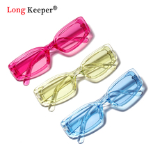 LongKeeper Fashion Rectangle Sunglasses Man Brand Womens