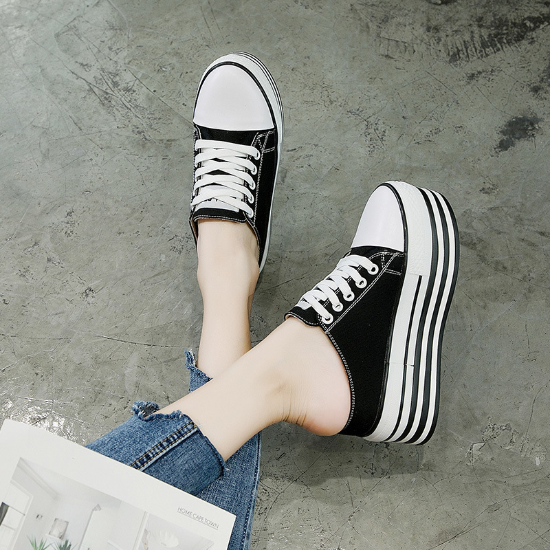 Women Canvas Shoes Lace-up Casual Shoes Flat Platform Wedge Shoes Height Increasing Summer Sneakers Woman Loafers Slippers MC-03