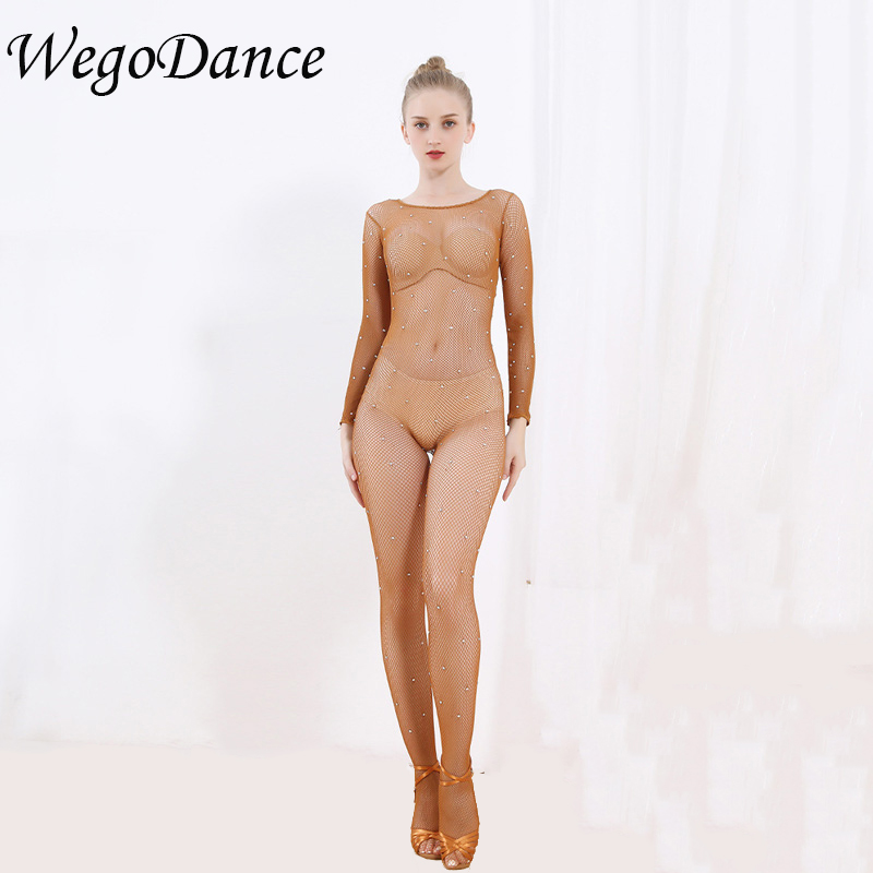 New High Stretch Mesh Latin Full Body Jumpsuits Professional Fishnet Ballroom Latin Dance Hard Yarn Elastic Stockings Pantyhose