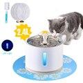 Кошачий фонтан для домашних животных 2 4л  окно для питья  светодиодный  автоматическая миска для воды для собак и кошек  USB  диспенсер для пит...