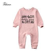 Детская одежда на весну-осень, хлопковый комбинезон для новорожденных и маленьких девочек, комбинезон с длинными рукавами, розовая одежда, одежда с надписями