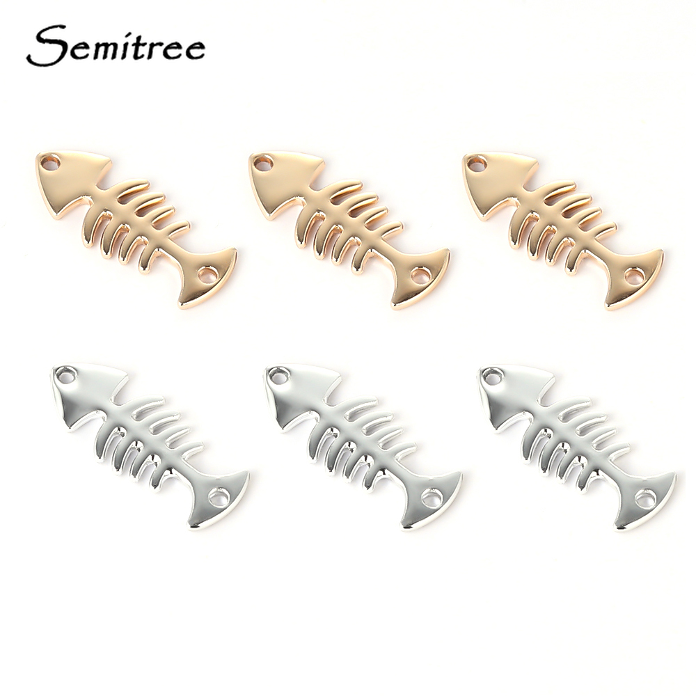 Semitree 10pcs Fishbone Bracelet Making Necklace Connector Pendant Charms For DIY Jewelry Findings Handmade Crafts Accessories