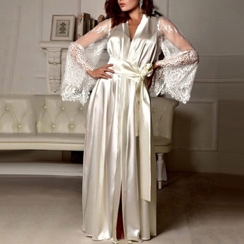 Womens Nightdress Sexy Long LaceLingerie  Bath Robe Gown  Imitation Ice Silk Nightdress Solid Color Nightgown Nightwear 1