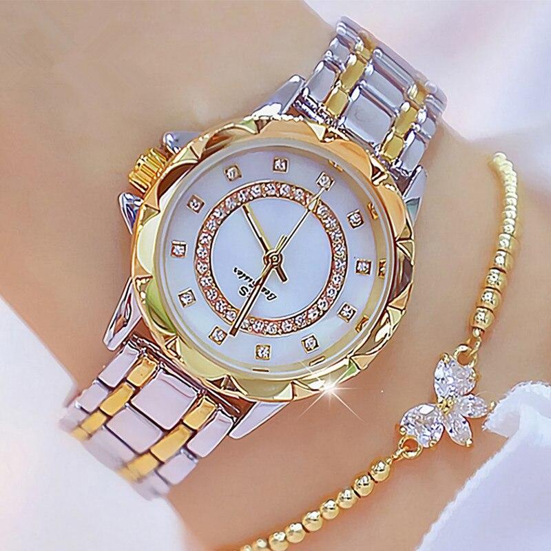 Diamond Women Luxury Brand Watch Rhinestone Elegant Ladies Watches Gold Clock Wrist Watches For Women Relogio Feminino Reloj Muj