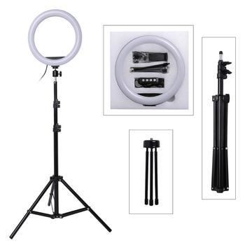 10 cal fotografia LED Selfie lampa pierścieniowa 26cm możliwość przyciemniania aparat telefon lampa pierścieniowa z statyw do wideo do makijażu Studio Live tanie i dobre opinie Lacyfans CN (pochodzenie) Ue wtyczka Bi-color 3200 K-5600 K