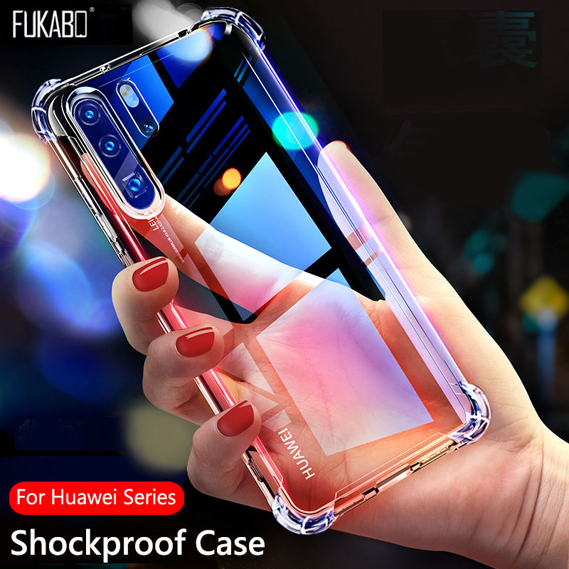Shockproof Silicone Cases For Huawei P40 Pro P30 P20 Lite P Smart Y5 Y6 Y7 Pro Y9 Prime 2019 For Mate 20 10 Lite 30 Pro Cover(China)