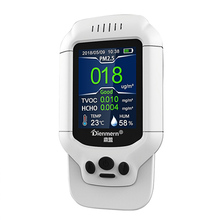 цена на Portable pm 2.5 Sensor Air Quality Monitor HCHO TVOC PM1.0 PM2.5 PM10 Detector Handheld Temperature Humidity Household Meter