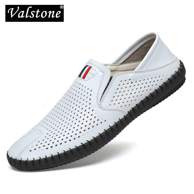 Valstone Hot sale Mens Summer Mocassins 2020 Leather loafers Slip on soft casual shoes comfortable drive flats White breathable