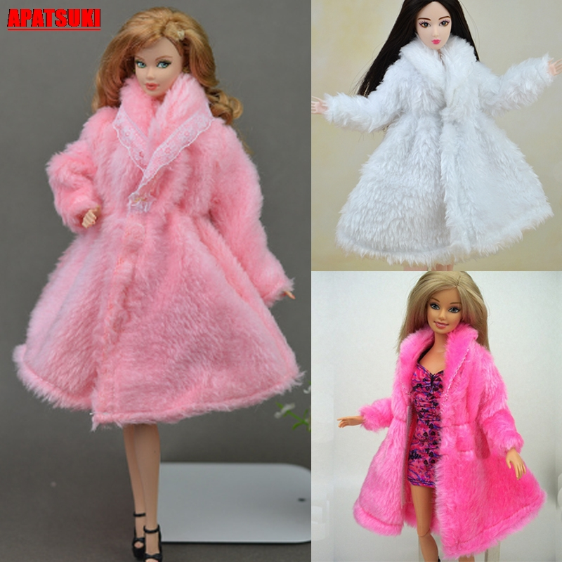 Winter Warm Wear Pink Fur Coat Mini Clothes For Barbie Dolls Fur Clothing With Waist <font><b>Belt</b></font> for <font><b>1/6</b></font> BJD Doll Outfits Dollhouse Toy image