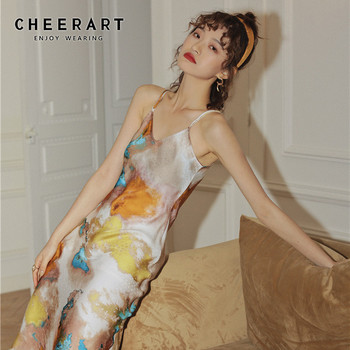 CHEERART Oil Painting Spaghetti Strap Bodycon Dress Women V Neck Backless Aesthetic Frill Dress 2020 Summer Fashion chic spaghetti strap backless bodycon solid color dress for women